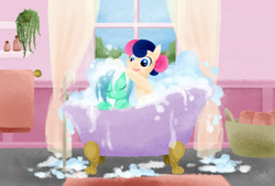 Size: 800x540 | Tagged: adorabon, artist:cherrypaintpony, bath, bathtub, bipedal, bon bon, bubble, bubble bath, claw foot bathtub, cute, earth pony, eyes closed, female, happy, leaning, lyrabetes, lyra heartstrings, mare, mutual bathing, open mouth, pony, safe, smiling, soap, sweetie drops, unicorn, water, wet mane
