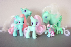 Size: 2816x1880 | Tagged: artist:pinkiepirates, blind bag, brushable, figure, g1, g3, g4, minty, minty (g1), photo, prototype, safe, toy
