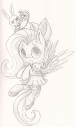 Size: 1205x1999 | Tagged: alice in wonderland, angel bunny, artist:suplolnope, clothes, crossover, cute, dress, fluttershy, monochrome, ribbon, safe, shoes, sketch, socks, waistcoat, watch
