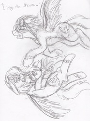 Size: 1280x1724 | Tagged: safe, artist:enigmaticfrustration, rainbow dash, spitfire, oc, female, male, mare, offspring, parent:rainbow dash, parent:spitfire, parents:spitdash, pencil drawing, shipping, sketch, spitdash, stallion, straight, traditional art, trans boy, trans stallion rainbow dash, transgender