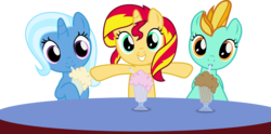 Size: 4563x2260 | Tagged: safe, artist:vector-brony, lightning dust, sunset shimmer, trixie, pony, cute, diatrixes, dustabetes, filly, filly lightning dust, filly sunset, filly trixie, milkshake, milkshake ponies, shimmerbetes, simple background, transparent background, vector