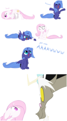 Size: 5174x9291 | Tagged: safe, artist:grievousfan, discord, princess celestia, princess luna, absurd resolution, cewestia, cute, filly, lunabetes, pink-mane celestia, s1 luna, simple background, woona, young celestia, young luna, younger