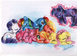 Size: 1024x744 | Tagged: safe, artist:buttersprinkle, applejack, fluttershy, pinkie pie, rainbow dash, rarity, twilight sparkle, cuddle puddle, eyes closed, floating, floppy ears, levitation, magic, mane six, prone, self-levitation, sleeping, smiling, snuggling, telekinesis, traditional art, wink