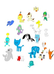 Size: 2543x3489   Tagged: safe, artist:pokeneo1234, pound cake, pumpkin cake, spike, bushwoolie, turtle, g1, adventure time, asdfmovie, az, baby tooth, blue, blue (blue's clues), blues clues, bmo, bravest warriors, bubble guppies, bubble puppy, catbug, charlie brown, cheese chao, crossover, disney, drawn together, high five ghost, ling-ling, mao, mio, mio & mao, mr salt, mrs pepper, paprika, peanuts, petalar, pingu, regular show, rise of the guardians, robert the seal, sonic the hedgehog (series), thundercats, wakfu, woodstock (peanuts)