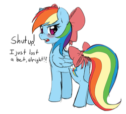 Size: 750x684 | Tagged: safe, artist:allosaurus, artist:mewball, rainbow dash, pegasus, pony, bet, blushing, bow, cute, dashabetes, dialogue, embarrassed, female, girly, hair bow, looking at you, looking back, mare, open mouth, rainbow dash always dresses in style, simple background, solo, tail bow, tomboy taming, tsunderainbow, tsundere, white background