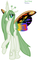 Size: 538x871   Tagged: safe, artist:faith-wolff, changeling, changeling queen, mothpony, fanfic:the bridge, butterfly wings, changelingified, colored sclera, colored wings, female, godzilla (series), kaiju changeling, mothra, mothra lea, multicolored wings, ponified, raised hoof, signature, simple background, smiling, solo, transparent background