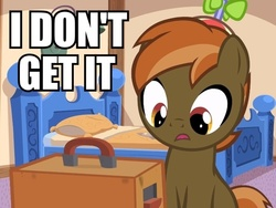 Size: 640x480 | Tagged: artist:jan, bed, button mash, button's adventures, colt, earth pony, foal, hooves, i don't get it, image macro, male, open mouth, pillow, pony, reaction image, safe, solo, text