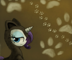 Size: 800x672 | Tagged: safe, artist:hewison, rarity, animal costume, cat costume, cat ears, clothes, costume, ninja, solo