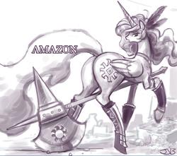 Size: 699x618   Tagged: safe, artist:johnjoseco, princess celestia, alicorn, pony, princess molestia, amazon, axe, butt, cosplay, dragon's crown, female, halberd, plot, solo