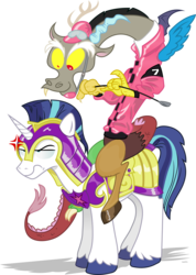 Size: 6431x9049 | Tagged: absurd res, angry, armor, artist:andypriceart, artist:gray-gold, clothes, discord, frown, glare, jockey, riding, riding crop, safe, shining armor, simple background, smiling, transparent background, unamused, vector, wide eyes