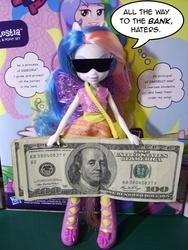 Size: 540x720   Tagged: safe, princess celestia, equestria girls, benjamin franklin, dialogue, doll, federal reserve note, money, principal celestia, sunglasses, toy