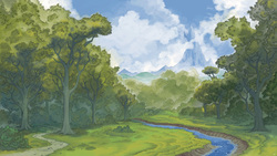 Size: 2573x1447   Tagged: safe, artist:cmaggot, background, bush, canterlot, canterlot mountain, cloud, cloudy, forest, mountain, no pony, path, peak, river, scenery, scenery porn, stream, tree