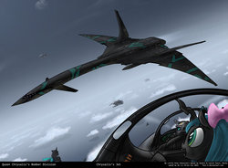 Size: 1042x766 | Tagged: safe, artist:foxi-5, queen chrysalis, changeling, aircraft, bow, jet, plane