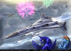 Size: 1600x1167 | Tagged: safe, artist:foxi-5, derpy hooves, princess luna, rainbow dash, spike, twilight sparkle, pegasus, pony, female, fireworks, jet, mare, missile, plane