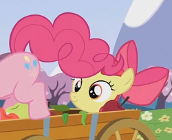 Size: 458x374 | Tagged: apple bloom, implied foalcon, out of context, pinkie pie, safe, screencap, too many pinkie pies