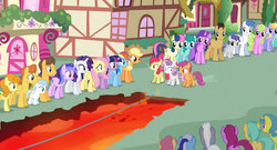 Size: 1365x735 | Tagged: amethyst star, apple bloom, applejack, artist:dtkraus, berry punch, berryshine, bon bon, brolly, caramel, carrot top, cherry berry, cherry cola, cherry fizzy, cloud kicker, daisy, dizzy twister, edit, edited screencap, flower wishes, fluttershy, golden harvest, lava, lemon hearts, lyra heartstrings, minuette, rainbow dash, rarity, royal riff, safe, scootaloo, screencap, seafoam, sea swirl, sparkler, spring melody, sprinkle medley, sunshower raindrops, sweetie belle, sweetie drops, this will end in tears, this will end in tears and/or death, tightrope, trial by fire, twilight sparkle, warm front, wat, whitewash