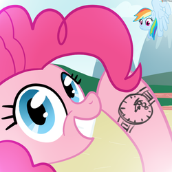 Size: 600x600 | Tagged: artist:hudoyjnik, artist:synch-anon, clock, pinkie pie, rainbow dash, safe, watch