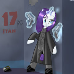 Size: 600x600 | Tagged: safe, artist:hudoyjnik, artist:synch-anon, rarity, pony, vampire, bipedal, clothes, crossover, dual wield, fangs, gun, magic, pistol, solo, underworld, weapon