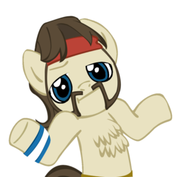 Size: 945x945 | Tagged: safe, artist:moongazeponies, artist:xeno-scorpion-alien, ace, earth pony, pony, chest fluff, facial hair, headband, looking at you, male, moustache, shrug, shrugpony, simple background, solo, stallion, transparent background