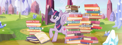 Size: 851x315 | Tagged: alicorn, book, crystal empire, facebook, female, mare, pony, safe, solo, twilight sparkle, twilight sparkle (alicorn)