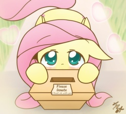 Size: 2598x2362 | Tagged: safe, artist:howxu, fluttershy, pegasus, pony, anime, box, cute, female, howxu is trying to murder us, shut up and take my money, shyabetes, solo, weapons-grade cute