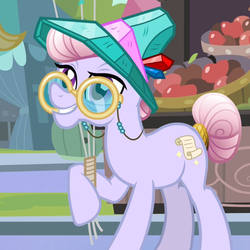 Size: 550x550 | Tagged: agate, agatha, amethyst maresbury, apple, balloon, crystal pony, grin, hat, holding, pony, raised hoof, safe, screencap, smiling, solo, tail wrap, the crystal empire