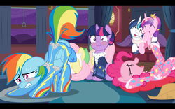 Size: 1920x1200 | Tagged: safe, artist:niggerfaggot, fluttershy, pinkie pie, princess cadance, rainbow dash, shining armor, twilight sparkle, alicorn, earth pony, pony, unicorn, accidental exposure, awkward, blushing, butt flap, butt shake, clothes, embarrassed, eyes on the prize, face down ass up, fake screencap, female, footed sleeper, funny, hair bun, iwtcird, laughing, mare, mooning, on back, pajamas, plot, race swap, scrunchy face, sitting, sleepover, slumber party, sunshine sunshine, truth or dare, unintentional mooning, wardrobe malfunction, we don't normally wear clothes
