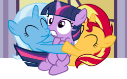 Size: 4800x3000 | Tagged: safe, artist:beavernator, sunset shimmer, trixie, twilight sparkle, pony, unicorn, all glory to the beaver grenadier, beavernator is trying to murder us, counterparts, cute, diatrixes, eyes closed, female, filly, filly sunset, filly trixie, filly twilight sparkle, frown, grin, gritted teeth, hape, heartwarming, hug, hug sandwich, magical trio, missing cutie mark, shimmerbetes, smiling, squee, sweet dreams fuel, twiabetes, twilight's counterparts, wide eyes, young, younger