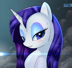 Size: 1278x1211 | Tagged: safe, artist:skyart301, rarity, pony, unicorn, bedroom eyes, female, looking at you, mare, smiling, solo, sweat, wet, wet mane, wet mane rarity