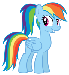 Size: 4598x5000 | Tagged: safe, artist:jennieoo, rainbow dash, pegasus, pony, absurd resolution, alternate hairstyle, female, mare, ponytail, show accurate, simple background, smiling, solo, transparent background, vector