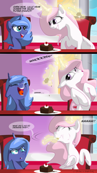 Size: 1080x1920 | Tagged: safe, artist:lunarcakez, princess celestia, princess luna, alicorn, pony, comic:the cake, cake, cakelestia, cewestia, comic, crying, cute, eating, eyes closed, feeding, female, filly, floppy ears, food, grin, levitation, lunabuse, magic, mare, open mouth, pink-mane celestia, puffy cheeks, pure unfiltered evil, raised hoof, sitting, smiling, table, teasing, telekinesis, tongue out, trollestia, woona, younger