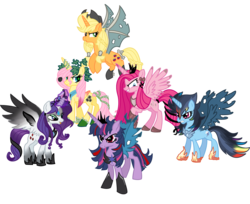 Size: 1500x1224 | Tagged: alicorn, applecorn, applejack, artist:schnuffitrunks, corrupted, corrupted twilight sparkle, everyone is an alicorn, fluttercorn, fluttershy, mane six, pinkamenacorn, pinkamena diane pie, pinkiecorn, pinkie pie, pony, race swap, rainbowcorn, rainbow dash, raricorn, rarity, safe, twilight sparkle, twilight sparkle (alicorn), vector, xk-class end-of-the-world scenario