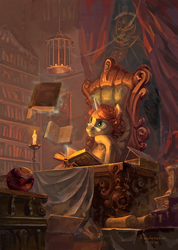 Size: 1140x1600 | Tagged: safe, artist:tarakanovich, oc, oc only, oc:alex liam, pony, unicorn, bird cage, book, bookshelf, cage, candle, chair, desk, detailed, featured image, frown, glasses, glow, interior, levitation, library, magic, reading, room, scroll, sitting, solo, telekinesis