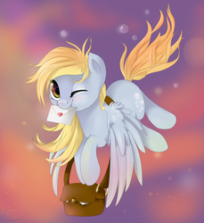 Size: 2200x2400 | Tagged: artist:fikakorv, bag, cute, derpabetes, derpy hooves, female, flying, letter, mail, mare, mouth hold, pegasus, pony, safe, solo, wink