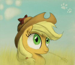 Size: 800x702 | Tagged: applejack, artist:hewison, cat ears, grass, safe, solo