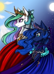 Size: 1066x1446 | Tagged: safe, artist:longinius, princess celestia, princess luna, alicorn, pony, alternate hairstyle, beautiful, cape, clothes, crown, detailed, dress, duo, ethereal mane, eyeshadow, female, flowing mane, hair bow, jewelry, makeup, mare, moon, multicolored mane, necklace, regalia, royal sisters, siblings, sisters, smiling, starry mane, sun