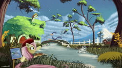 Size: 3576x2000 | Tagged: safe, artist:auroriia, fluttershy, beret, bridge, canvas, cloud, cloudy, crossover, easel, fluttershy's cottage, grass, looney tunes, mountain, painting, plein air, river, road runner, scenery, stars, stream, tree