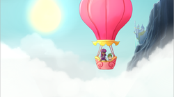 Size: 642x359 | Tagged: artist:starshinebeast, canterlot, hot air balloon, humanized, safe, spike, twilight sparkle, twinkling balloon