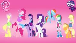 Size: 2560x1440   Tagged: safe, artist:agrol, applejack, fluttershy, pinkie pie, rainbow dash, rarity, twilight sparkle, equestria girls, eqg promo pose set, human ponidox, minimalist, my little pony logo, no face, twilight sparkle (alicorn), wallpaper