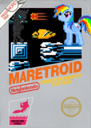 Size: 706x1000 | Tagged: safe, artist:nickyv917, daring do, rainbow dash, changeling, 8-bit, box art, game cover, metroid, nintendo, nintendo entertainment system, parody