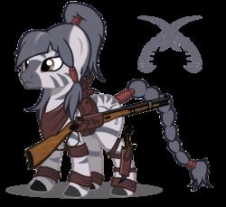 Size: 1440x1321   Tagged: safe, artist:ruhisu, oc, oc only, zebra, gun, rifle, solo