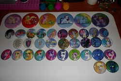 Size: 4608x3072 | Tagged: safe, angel bunny, apple bloom, applejack, derpy hooves, discord, dj pon-3, doctor whooves, fluttershy, gummy, nightmare moon, opalescence, owlowiscious, pinkie pie, princess cadance, princess celestia, princess luna, queen chrysalis, rainbow dash, rarity, scootaloo, spike, sweetie belle, tank, time turner, trixie, twilight sparkle, vinyl scratch, winona, zecora, pegasus, pony, zebra, blue lantern, cutie mark, cutie mark crusaders, female, green lantern, irl, mare, merchandise, photo, pins, power ring, sinestro corps, star sapphire, wall of tags