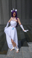 Size: 445x800 | Tagged: safe, artist:vicky-v, rarity, human, clothes, cosplay, dress, evening gloves, irl, irl human, london mcm expo, photo, solo