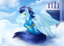 Size: 908x660 | Tagged: safe, artist:skyheavens, soarin', pegasus, pony, cloud, cloudsdale, colored pupils, looking at you, male, sitting, sky, solo, spread wings, stallion, wings, wonderbolts uniform