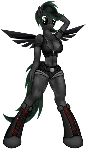 Size: 706x1216 | Tagged: anthro, anthro oc, armpits, artist:mlp-obsidian, cleavage, hooves, oc, oc only, solo, solo female, suggestive, unguligrade anthro