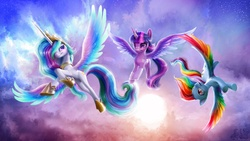 Size: 1485x837 | Tagged: safe, artist:bjpentecost, princess celestia, rainbow dash, twilight sparkle, alicorn, pony, bandage, cloud, cloudy, colored wings, colored wingtips, featured image, female, flying, injured, mare, multicolored wings, photoshop, rainbow feathers, sky, smiling, spread wings, sun, twilight sparkle (alicorn), upside down, wings