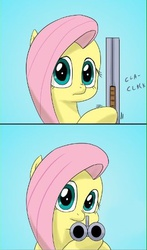 Size: 322x546 | Tagged: safe, artist:doublewbrothers, fluttershy, pony, comic, cropped, delet this, double barreled shotgun, female, gun, mare, meme, reaction image, shotgun, simple background, solo, the fourth wall cannot save you, weapon