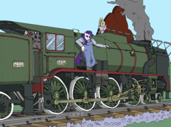 Size: 3586x2666 | Tagged: safe, artist:panzerschreckleopard, rarity, anthro, 240a, 240p, andre chapelon, chapelon, colored, female, france, locomotive, paris-orleans railway, sncf, solo, steam, steam engine, steam locomotive, train