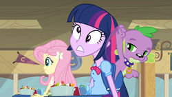 Size: 1216x687 | Tagged: safe, screencap, fluttershy, spike, twilight sparkle, dog, equestria girls, equestria girls (movie), derp, derplight sparkle, dope slap, spike is not amused, spike the dog, unamused