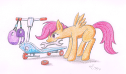Size: 1600x947   Tagged: safe, artist:benjik, scootaloo, female, scooter, solo, traditional art